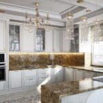 светлый неоклассический кухонный гарнитур