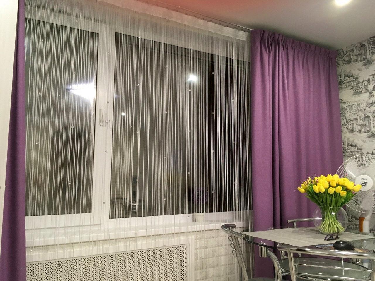 Шторы лапша на кухню с балконом фото