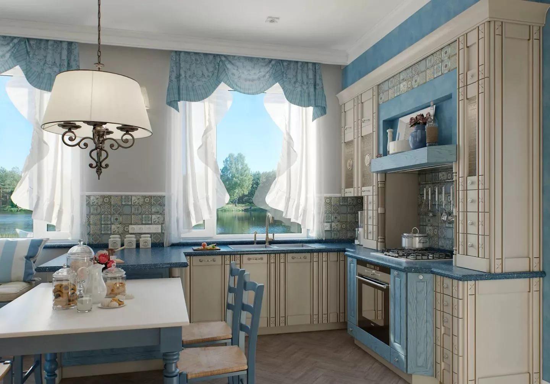 обрез голубых штор для кухни
