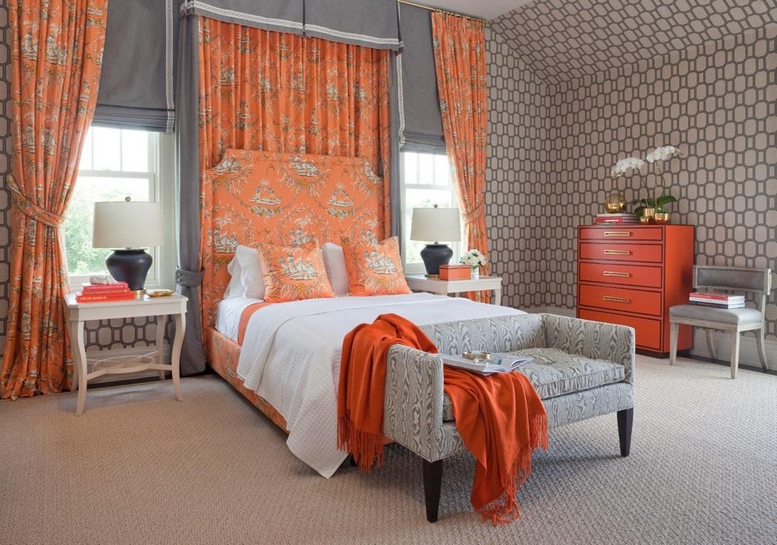 оранжевые шторы оформление