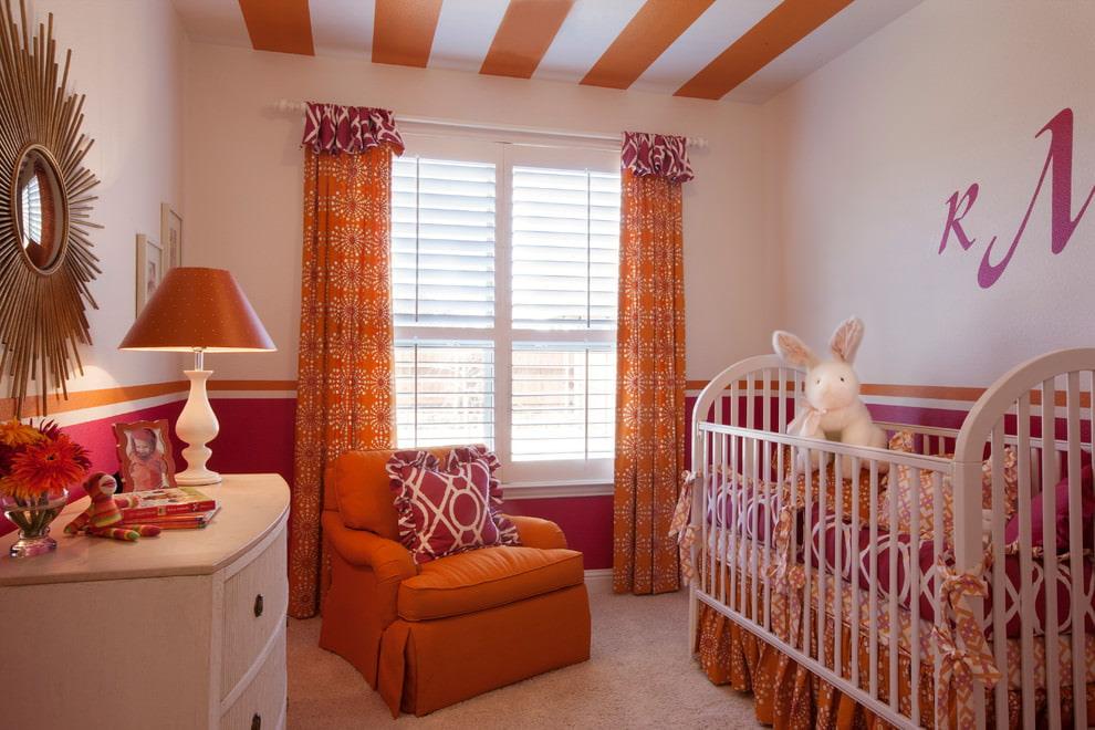 оранжевые шторы дизайн фото
