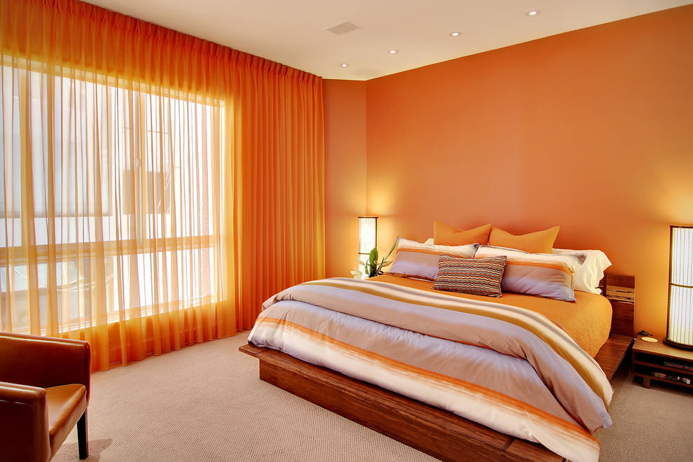 дизайн спальни в оранжевых тонах фото коже