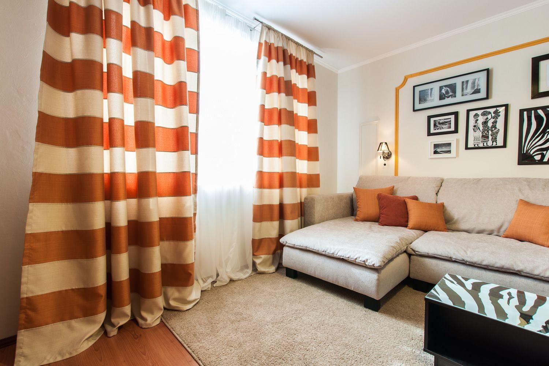 оранжевые шторы фото идеи