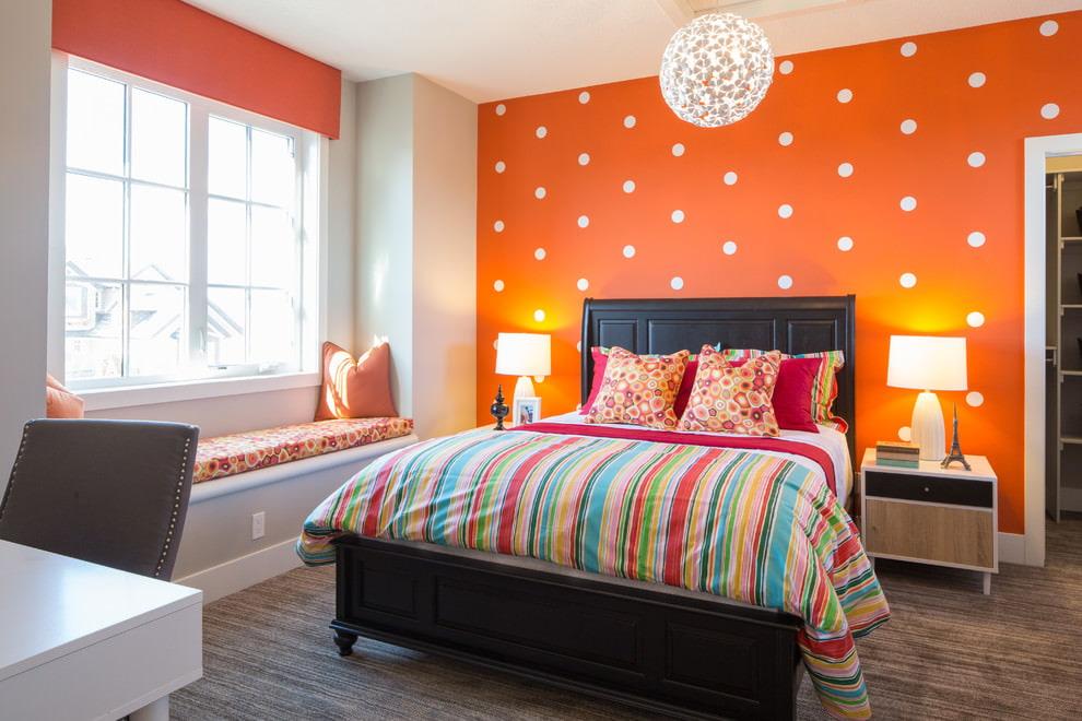 оранжевые шторы дизайн
