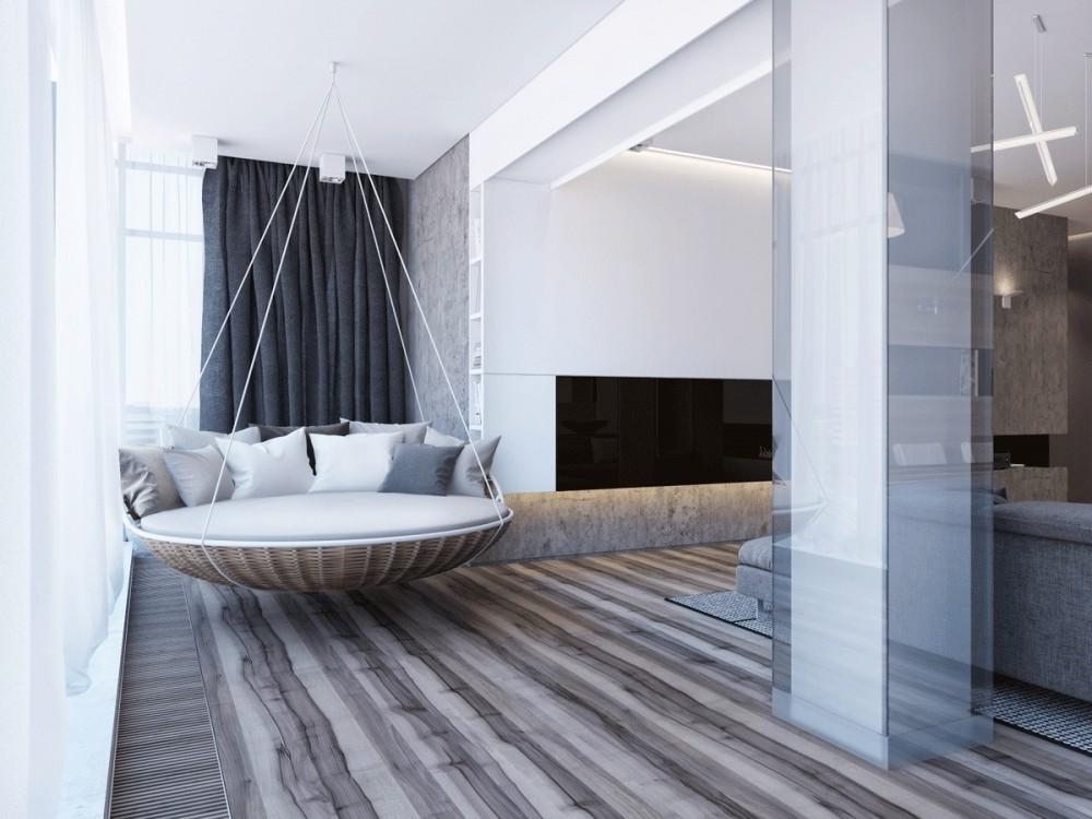 подвесная кровать в гостиной