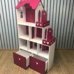 полка-домик розовый