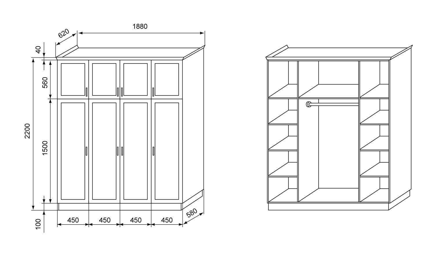 пример чертежа деревянного шкафа