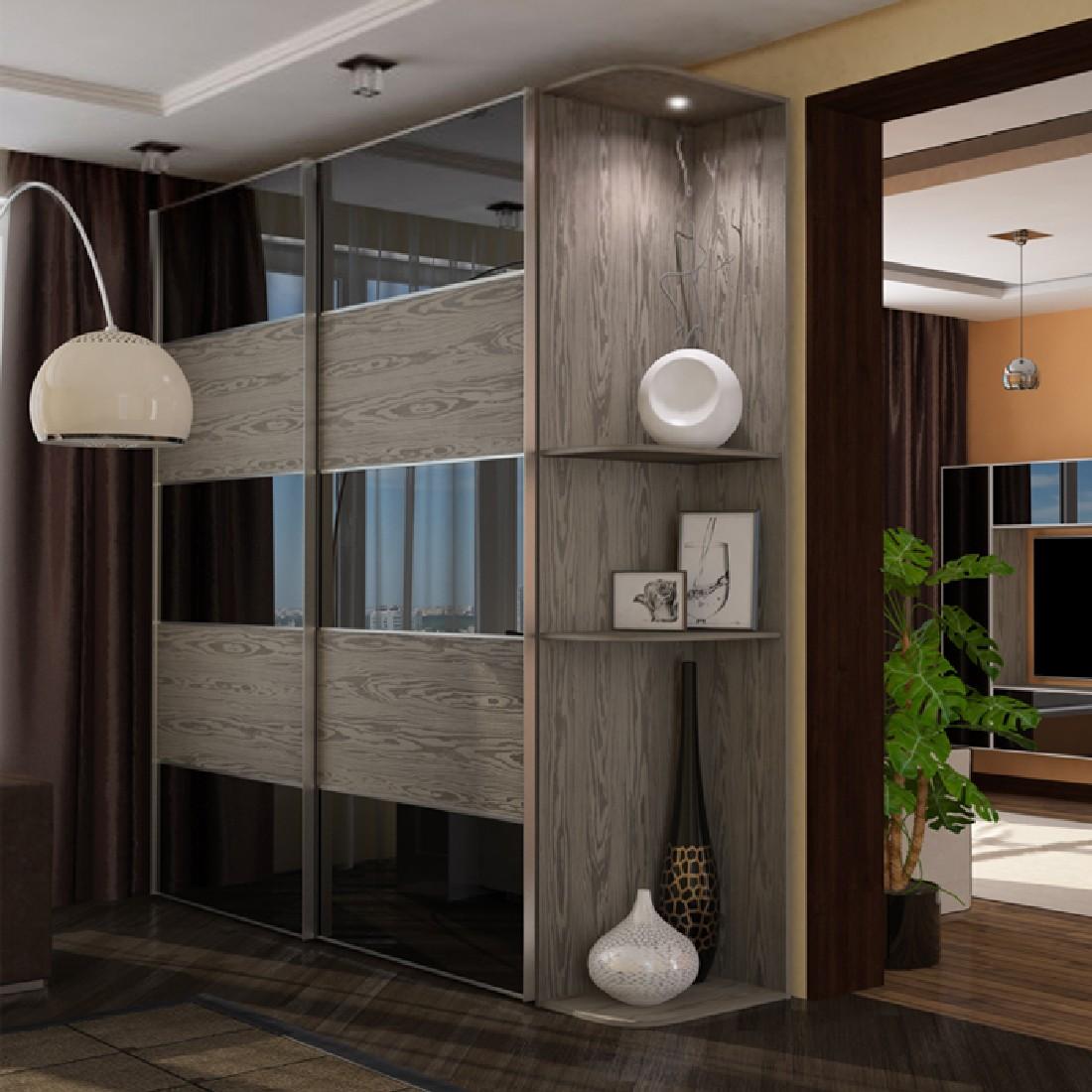прямоугольный шкаф-купе в гостиной