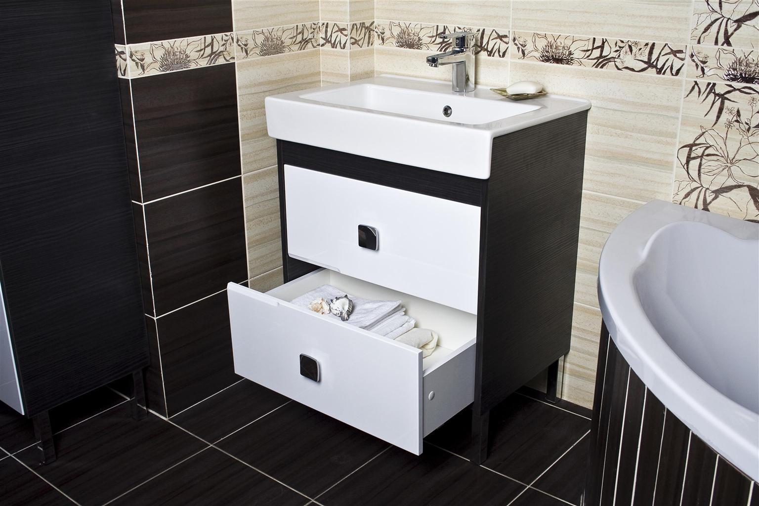 раковина с тумбой в ванной дизайн