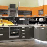кухня оранжевая с серым