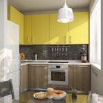 кухня желтая со шкафами