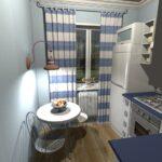 кухня с полосатыми шторами