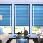 голубые римские шторы для гостиной