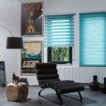 полупрозрачные римские голубые шторы