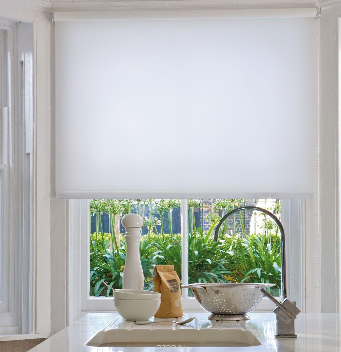 ролл шторы для кухни белые