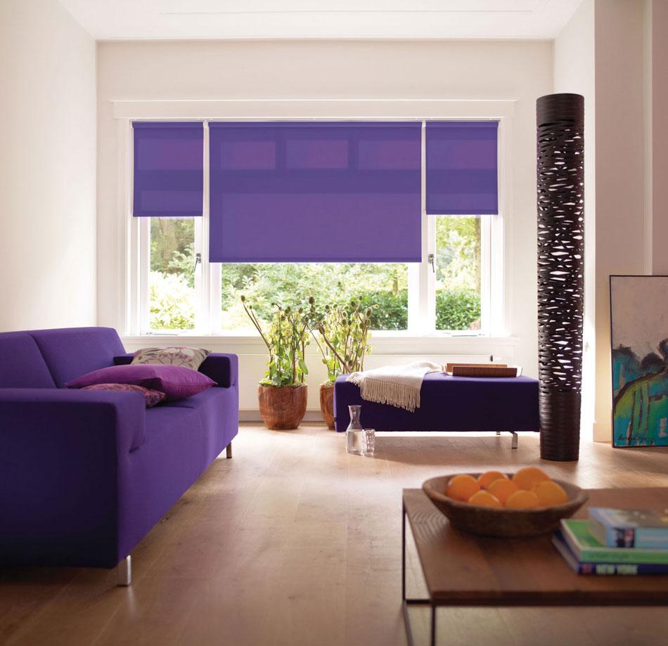 электро-рулонные шторы фиолет