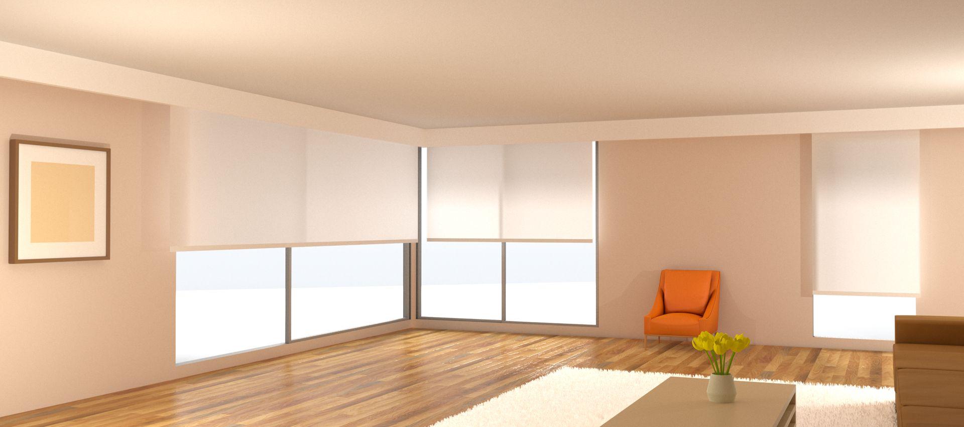 электро-рулонные шторы светлые