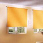 электро-рулонные шторы желтые