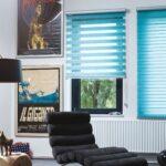 рулонно-кассетные шторы голубые
