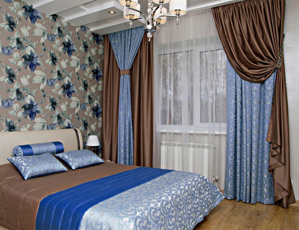 коричнево-голубые шторы