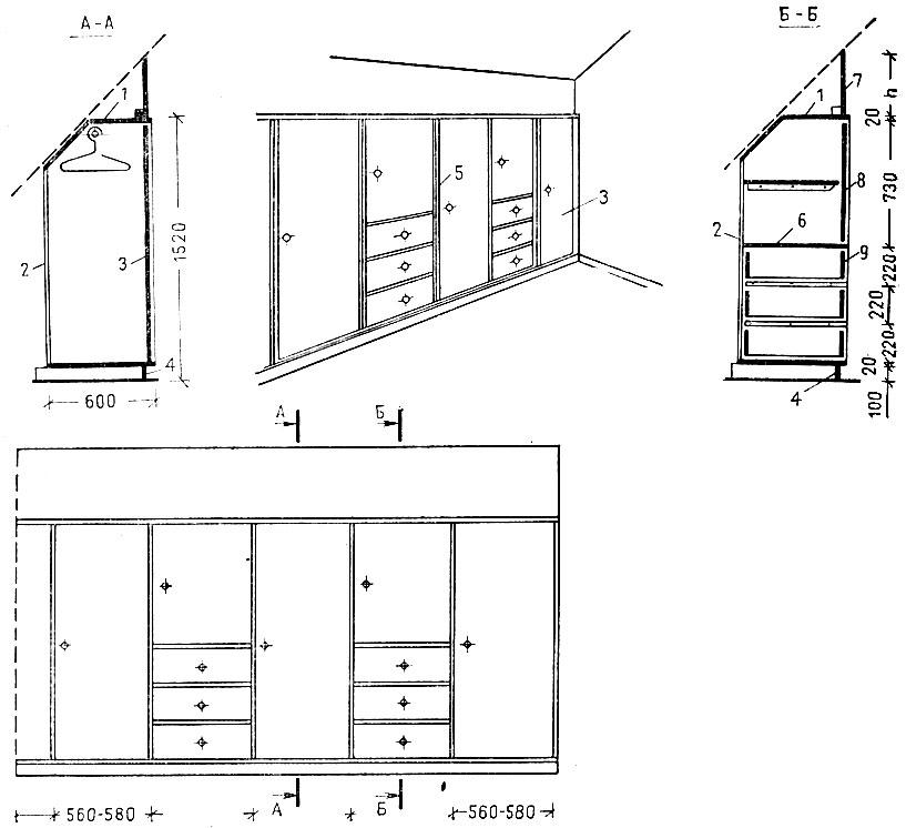 шкаф в мансарде чертеж