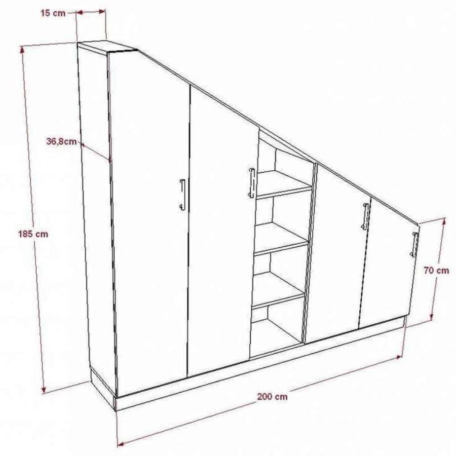шкаф в мансарде схема