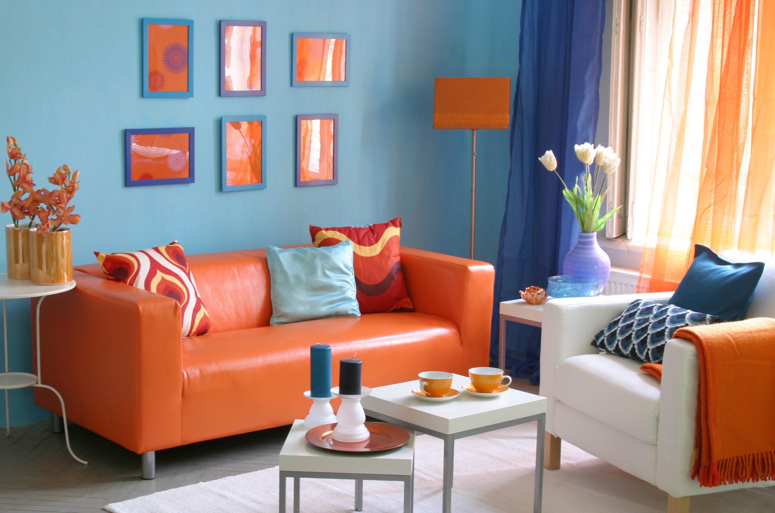 шторы оранжевый с голубым