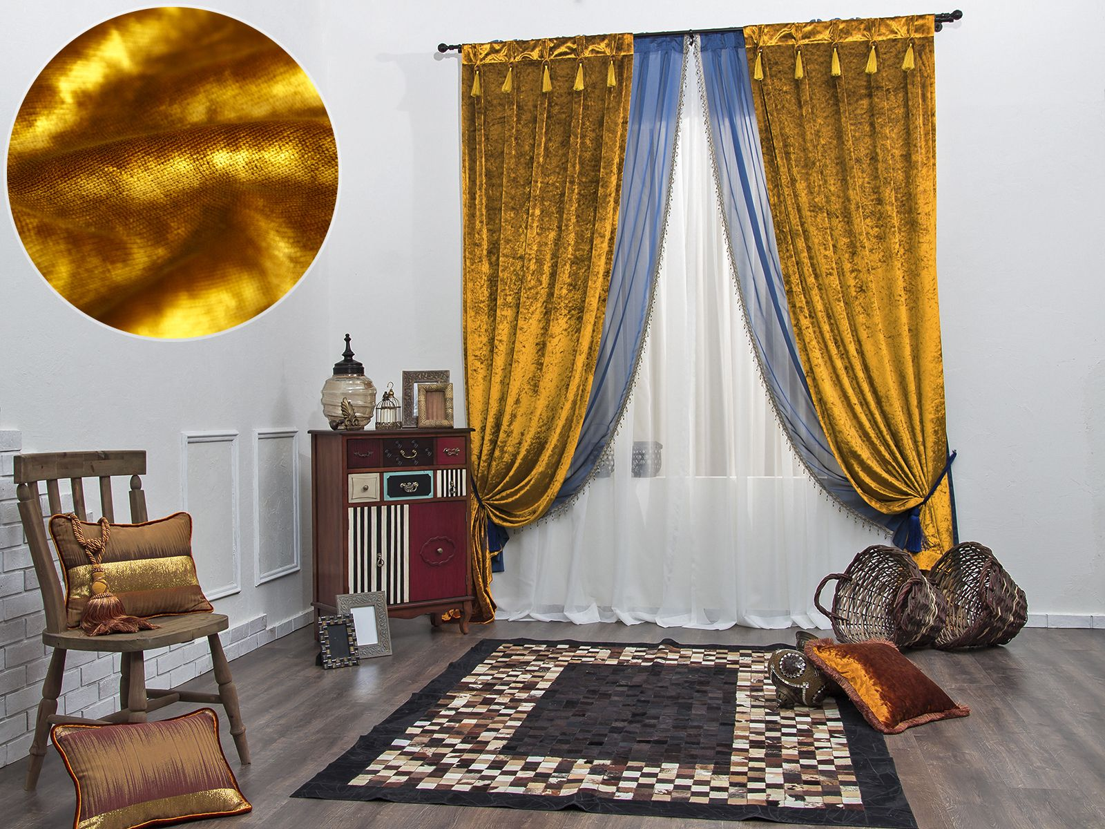 шторы золото с голубым