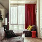 шторы красного цвета интерьер фото