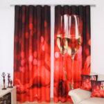 шторы красного цвета оформление идеи