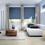 шторы на окна синие жалюзи