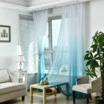 шторы на окна голубой тюль