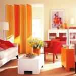 шторы оранжевого цвета идеи интерьер