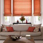 шторы оранжевого цвета оформление фото