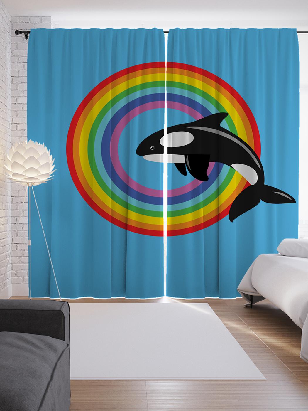 шторы с принтами радуга