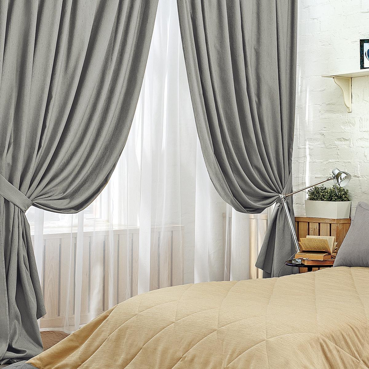 шторы с тюлем в спальне