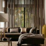 шторы модерн коричневые прозрачные