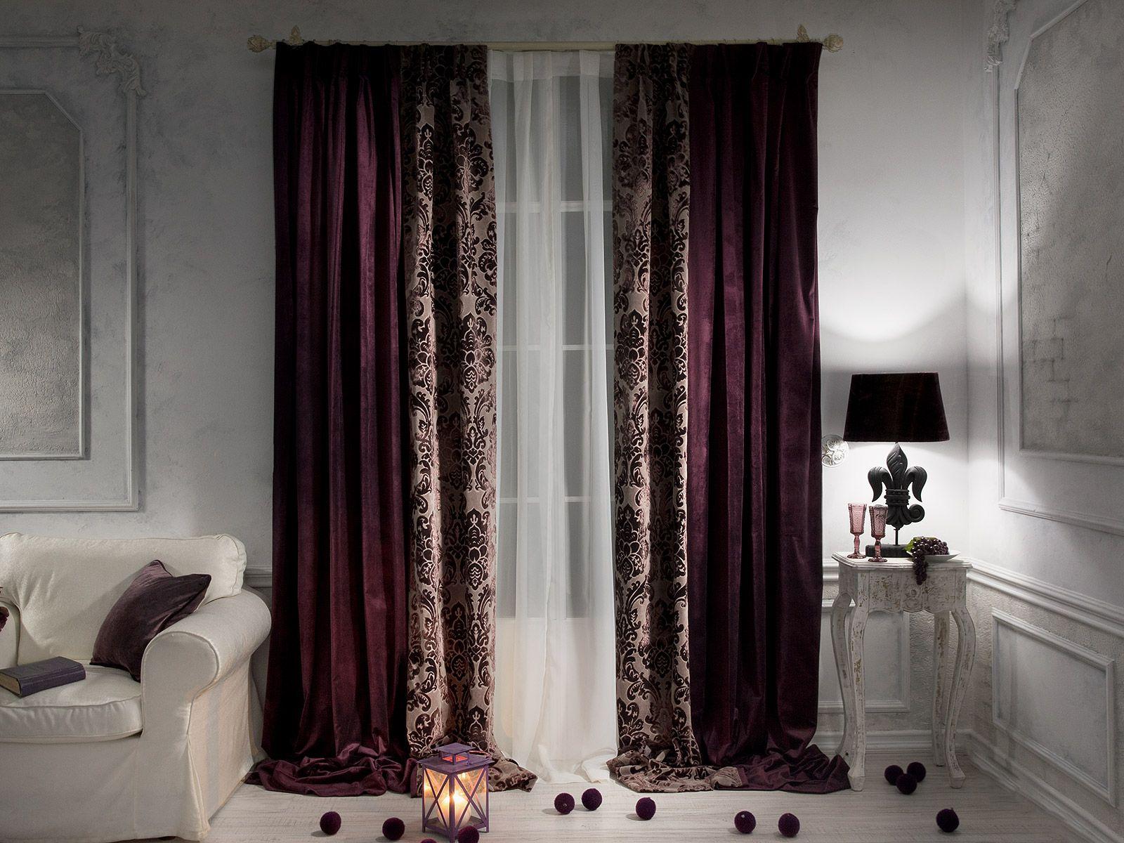 шторы из лилового бархата
