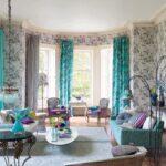 шторы бирюзовые в гостиную