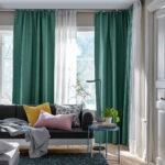 шторы зеленые в гостиной