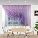 фиолетовая штора на кухне