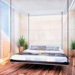 современная подвесная кровать фото интерьера