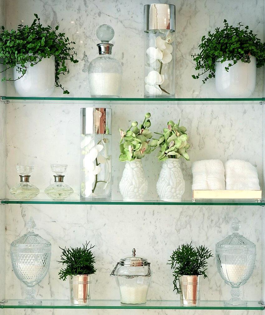 стеклянные полки на стену идеи дизайна