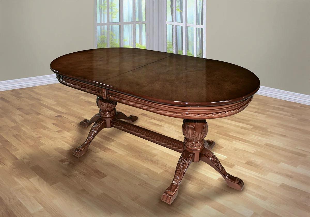 стол из массива дерева овальный