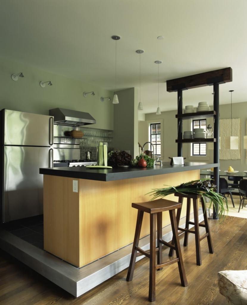 стол остров на кухне с подиумом