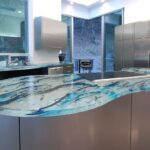 кухонная столешница голубая