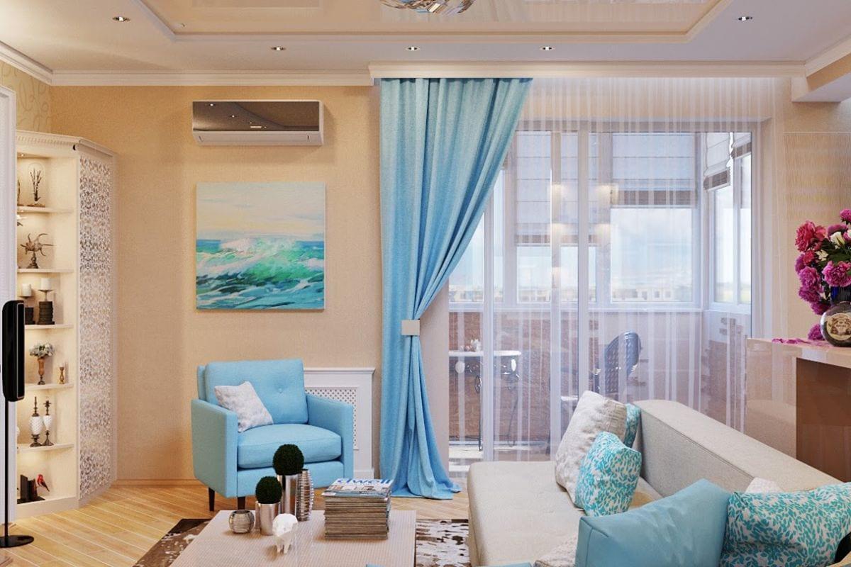 светлые бирюзовые шторы в гостиной