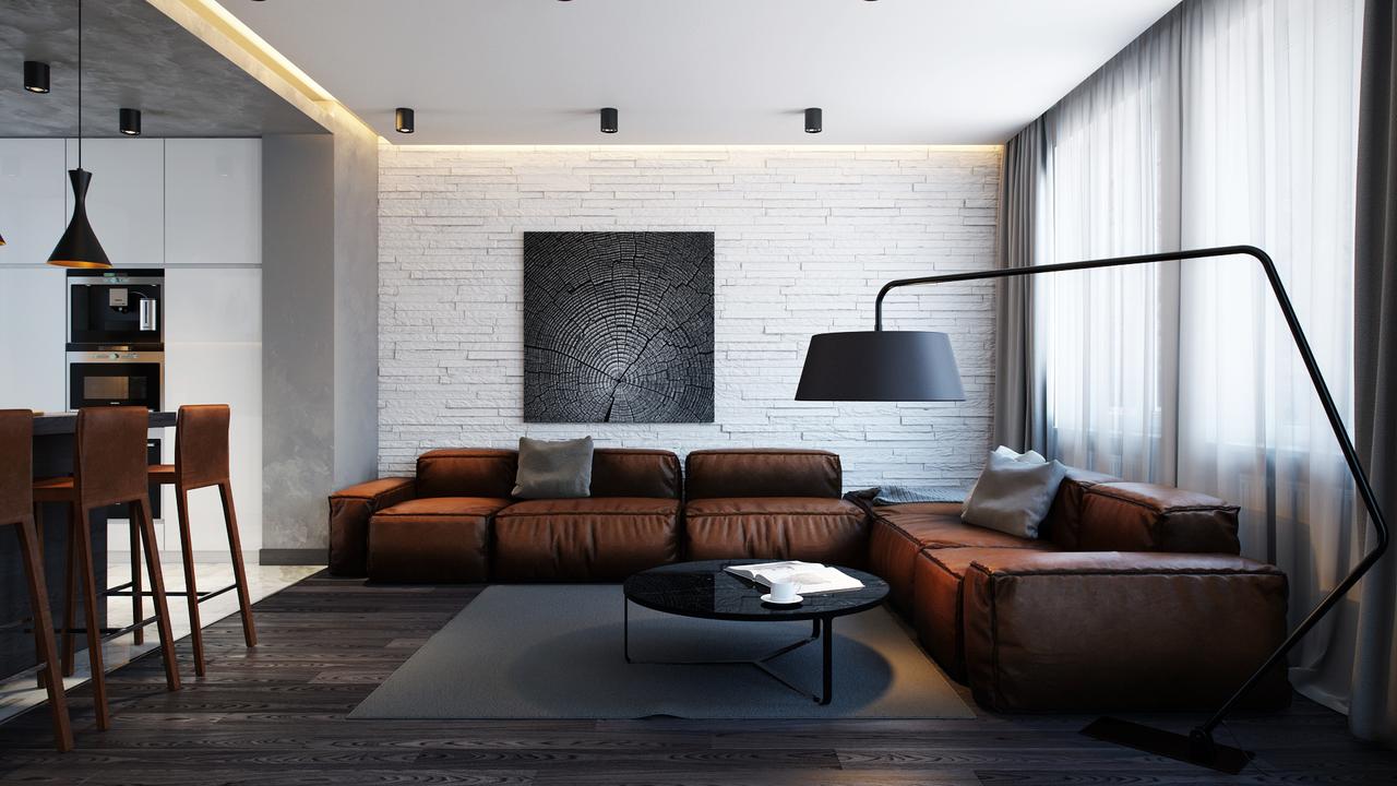 темная мебель в светлой комнате лофт