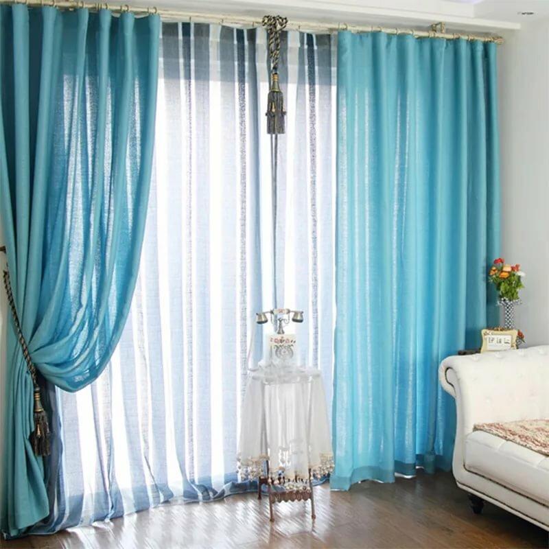 ткань для голубых штор в гостиной