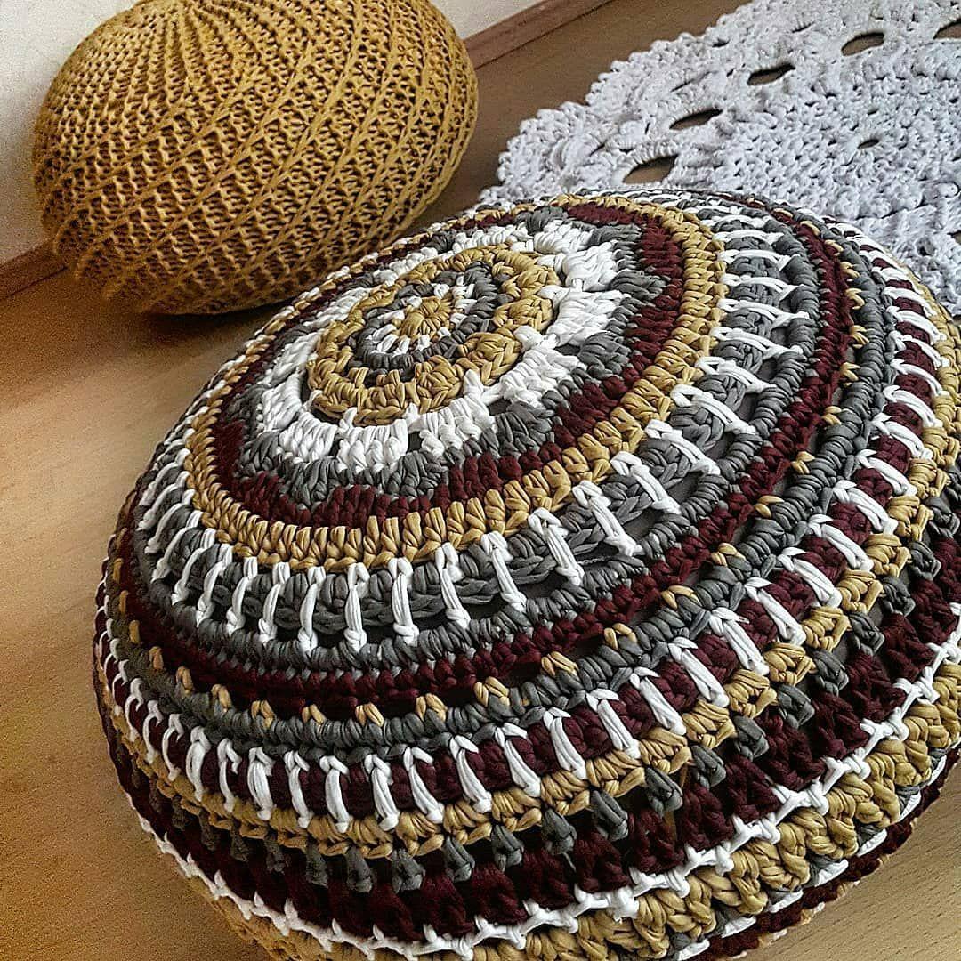 вязание пуфа вилкой